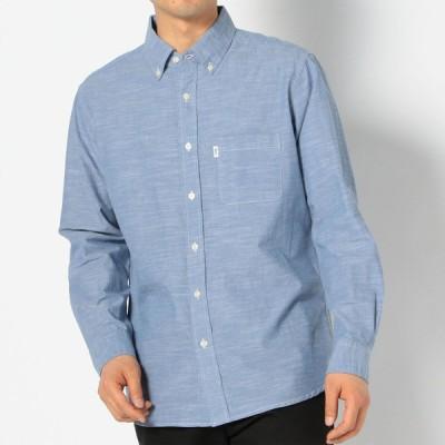 メンズ LOGOS ロールアップシャツ サックスブルー S