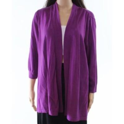 Nicole ニコール ファッション トップス Leo & Nicole Womens Purple Size 1X Plus Open Front Cardigan Sweater