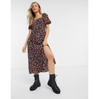 ニュールック New Look レディース ワンピース ミドル丈 ワンピース・ドレス Square Neck Belted Midi Dress In Floral Pattern ブラックパターン