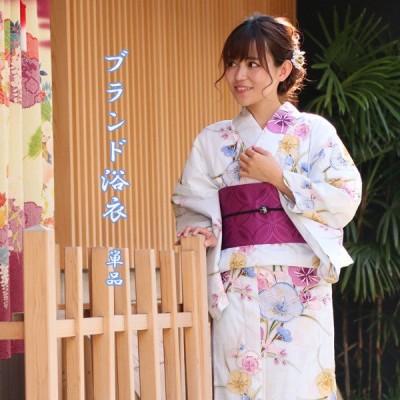 浴衣 レディース 浴衣 単品 フリー サイズ watuu 和つう ブルー 花 女性 ゆかた 送料無料
