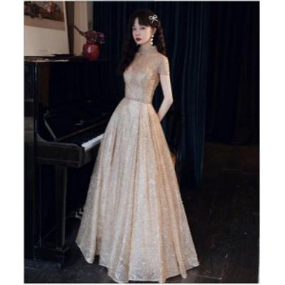 ロングドレス 演奏会 上品 大人 ウエディングドレス パーティードレス 披露宴 ピアノ 発表会 合唱衣装 ハイネック 20代30代40代 結婚式