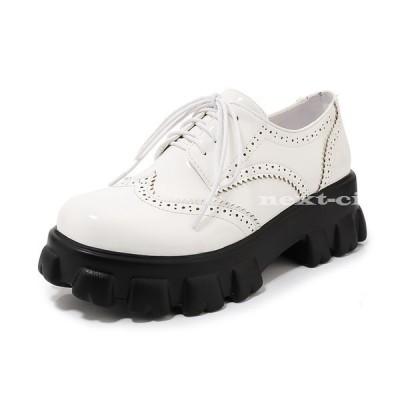 ラバーソール 厚底靴 レディース ぺたんこ レースアップ おじ靴 大きいサイズ 通勤 通学 シューズ カジュアル 20代 30代