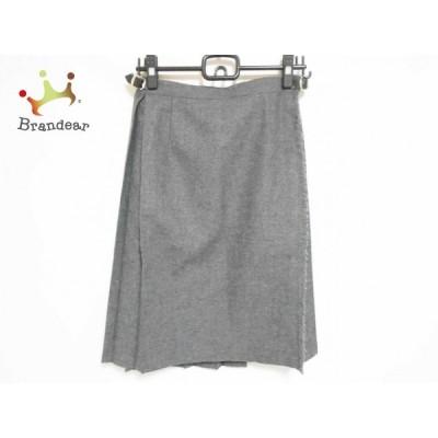 オニール O'NEIL 巻きスカート サイズ42 L レディース 美品 - ダークグレー ひざ丈/プリーツ 新着 20200721