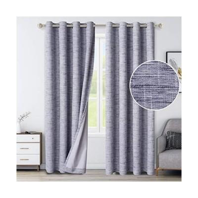 LORDTEX 100%遮光カーテン 寝室用 ? 質感のあるフェイクリネン 断熱カーテン グロメット付きトップ 部屋