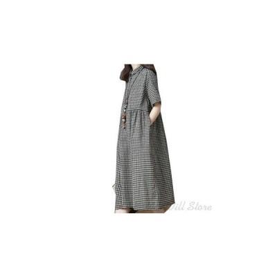 レディース ワンピース 綿麻 ゆったり ロング マキシ丈 半袖 体型カバー Aライン 大きいサイズ オシャレ春夏