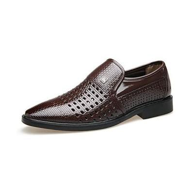 [スフォン] 通気性抜群 ビジネスシューズ メンズ 夏 パンチング オフィスサンダル 軽量 革靴 レザー カジュアルシューズ 紳士靴 防臭 通勤 防滑