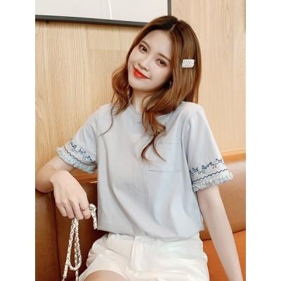 Tシャツ レディース トップス 半袖 カットソーラウンドネック袖刺繍ゆったり半袖Tシャツライトブルー民族風