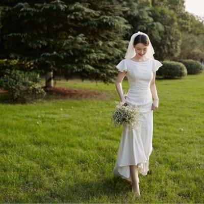 ウェディグドレス 半袖 花嫁 二次会 結婚式 マーメイドラインドレス 大きいサイズ 白 パーティードレス ロングドレス 海外挙式 トレーン オフホワイト 前撮り