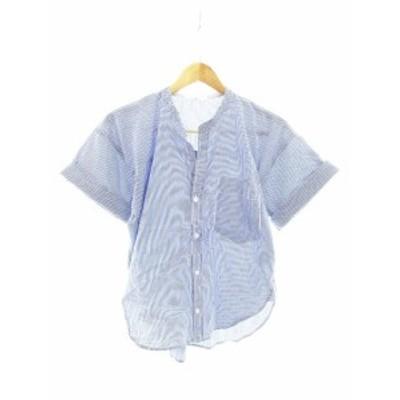 【中古】アズールエンカント AZUL ENCANTO シャツ 半袖 ストライプ S 青 ブルー /CK レディース