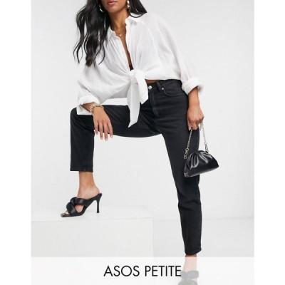 エイソス ASOS Petite レディース ジーンズ・デニム Asos Design Petite Hourglass High Rise 'Lift And Contour' Slim Mom Jeans In Washed Black