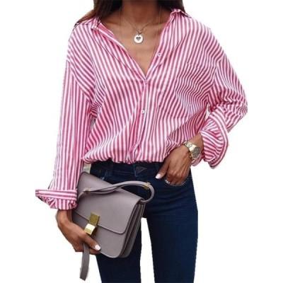 レディース 衣類 トップス S-5XL Blue Striped Women Blouse Long Sleeve Lapel Tops ブラウス&シャツ