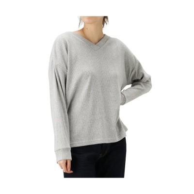 (MAC HOUSE(women)/マックハウス レディース)Navy ネイビー ランダムリブVネックTシャツ NVCW9103/レディース グレー