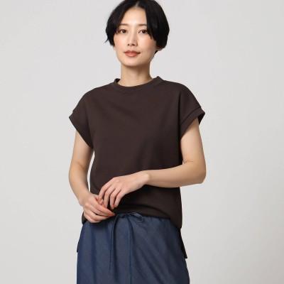 アンタイトル UNTITLED 「L」【洗える】テックリノジャージフレンチTシャツ (ディープブラウン)