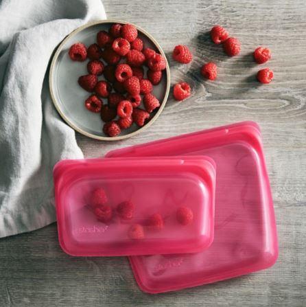 美國 Stasher 白金矽膠密封袋-方形水果系列4件組 (萊姆綠+野莓紅+野莓藍+柑橙橘)