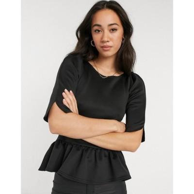 クローゼットロンドン Closet London レディース トップス Peplum Short Sleeve Top In Black ブラック