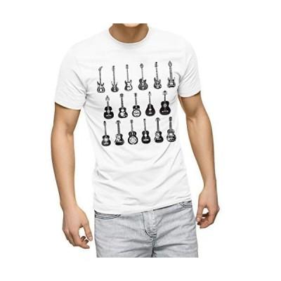 igsticker プリント Tシャツ メンズ L size おしゃれ クルーネック 白 ホワイト t-shirt 014361 ギター 音