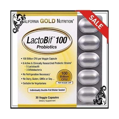 California Gold Nutrition LactoBif 100 ベジカプセルダブルフォイルブリスターパック 30ct [並行輸入品]