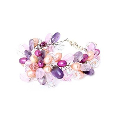 Novica multi-gem Rose Quartz Cultured Freshwater Pearlステンレスビーズブレスレット'ラベンダーRomance '