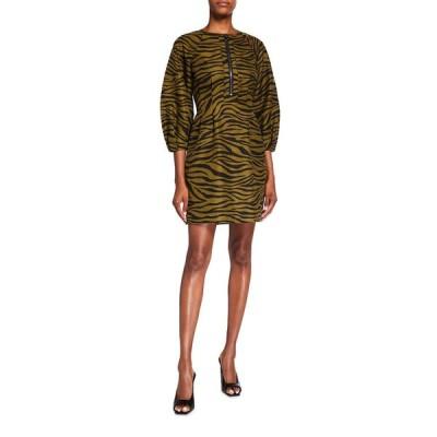 ヴェロニカ ベアード レディース ワンピース トップス Navi Tiger Stripe Puff-Sleeve Dress