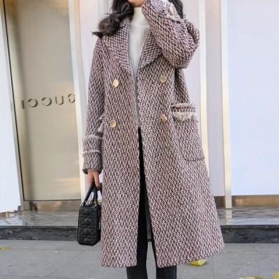 ツイード ロングコート クラシカル 上品コート ロング丈 フリンジ 大人可愛い 秋 冬 アウター