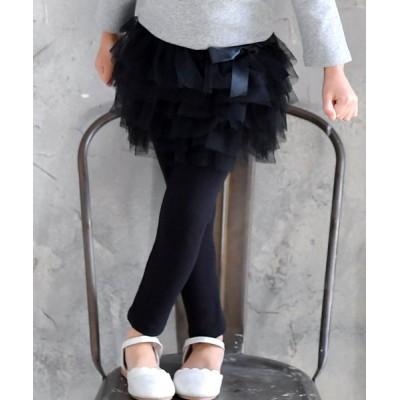 (子供服Bee/コドモフクビー)2タイプから選べる レギンス付きスカート/ ブラック