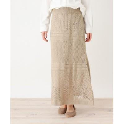 【シューラルー】 透かし編みロングスカート レディース ベージュ 00 SHOO・LA・RUE