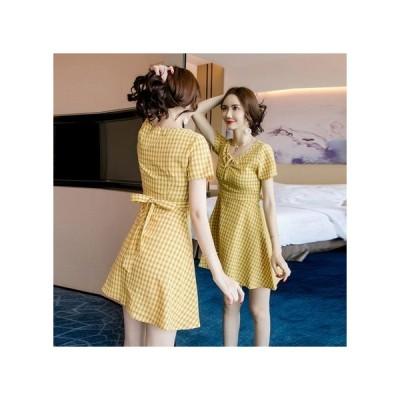 リボン チェック パーティードレス フレアスカート ミニ丈 レディース ワンピース お呼ばれドレス kh-0752