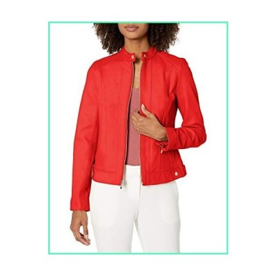 Cole Haan Women's Smooth Lamb Racer Jacket, red, EXTRA SMALL並行輸入品
