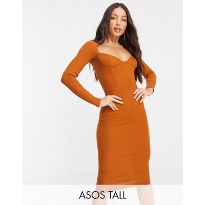 エイソス ASOS Tall レディース ワンピース ミドル丈 ワンピース・ドレス Asos Design Tall Off Shoulder Rib Panelled Long Sleeve Midi Dress キャラメル