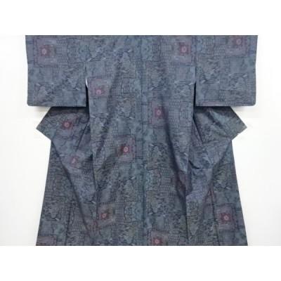 リサイクル 色紙に家屋樹木模様織出本場泥大島紬着物