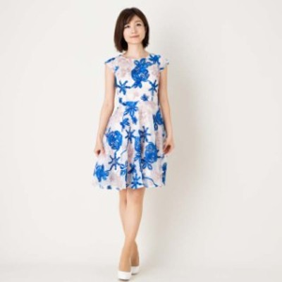 パーティードレス ワンピース ひざ丈 膝丈 半袖 結婚式 二次会 お呼ばれ 青   韓国 青Mサイズ
