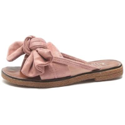 [ココマリ] ローヒール フラット ぺたんこ サンダル トング リボン 靴 シューズ ビーチ ビーサン 歩きやすい レディース スリッポン スリッパ シャワーサンダル