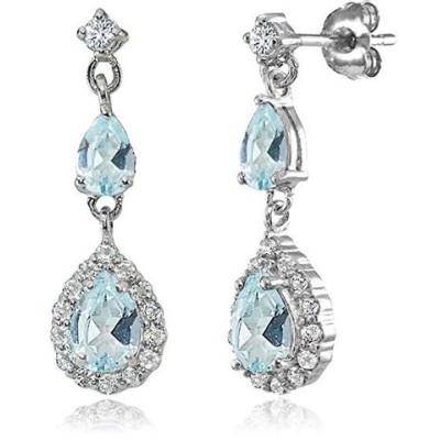 ピアス レディース Sterling Silver Blue and White Topaz Fashion Teardrop Dangle Earrings