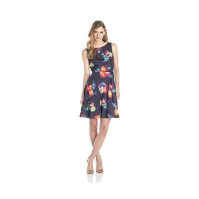 ベッツィジョンソン Betsey Johnson レディース フローラル フィット and Flare ドレス, ミッドナイト マルチ(海外取寄せ品)