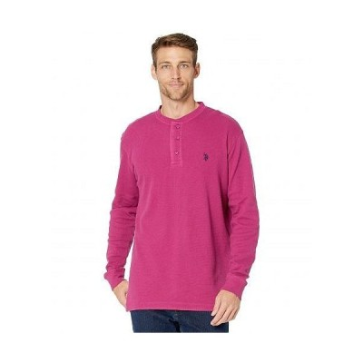 U.S. POLO ASSN. USポロ メンズ 男性用 ファッション Tシャツ Long Sleeve Solid Thermal Henley - Midnight Berry