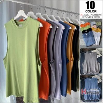 タンクトップ メンズ ノースリーブ Tシャツ カットソー 大きいサイズ 無地 クルーネック タンク インナー 夏服 涼しい