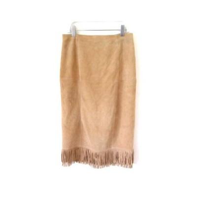 【中古】マカフィー MACPHEE トゥモローランド レザースカート やぎ革 裾フリンジ ウエスタン キャメル ベージュ 38 M SSS7 レディース 【ベクトル 古着】