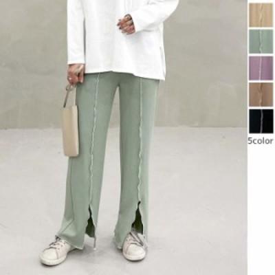【2021春夏】【5ラー F】配色メローの縦線が脚長効果を作り出しスタイルアップが叶うリブワイドパンツ♪ パンツ ワイドパンツ ボトムス