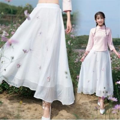 二枚送料無料/チャイナドレス ボトムス レディーススハーフカート チャイナ服 シフォン ロング 花柄刺繍 ハイウェスト 大きいサイズ 復古