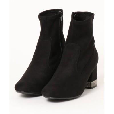 Mafmof / ElvisLuce(エルビスルーチェ) ブラッククリアヒールストレッチ素材ミドル ブーツ WOMEN シューズ > ブーツ