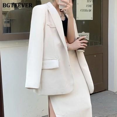 BGTEEVERエレガントな春の女性のスカートスーツ長袖ブレザー&ハイウエストサイドスプリットペンシルミディスカートレディースサマーブレザーセット