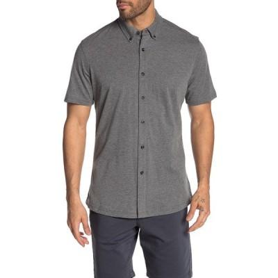 レポートコレクション メンズ シャツ トップス Short Sleeve Melange Knit Slim Fit Shirt 79 CHARCOAL MIX