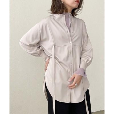 シャツ ブラウス スタンドカラ—ロングシャツ/ブラウス
