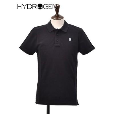ハイドロゲン HYDROGEN メンズ ポロシャツ 鹿の子 3つボタンフロント コットンポリ ブラック リフレクタープリント パイピング でらでら ブランド