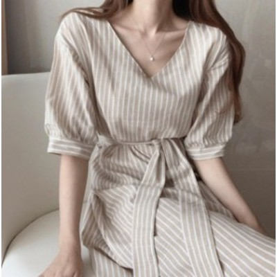 韓国 ファッション レディース ワンピース ロング ストライプ Vネック リボン ウエストマーク ゆったり 半袖 シンプル カジュアル 大人可