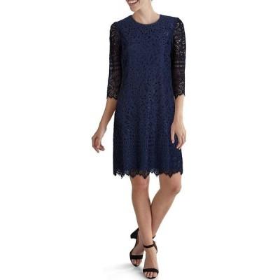 ケンジー レディース ワンピース トップス Elbow Sleeve Contrast Corded Lace Scalloped Sheath Dress Navy