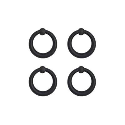 和風 取っ手 つまみ/牡丹8号丸輪下り 小 時代色 4個入り 日本製 (黒)