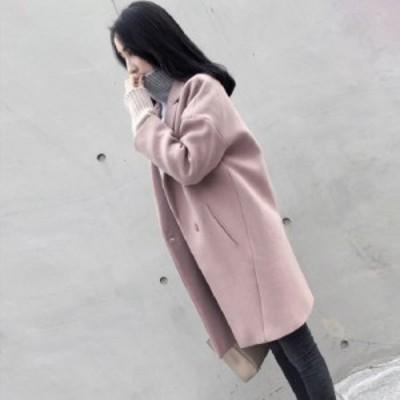 ベーシックなチェスターコート ピンク レディース ドロップショルダー エレガント トレンド プチプラ 淡色 きれいめ b475