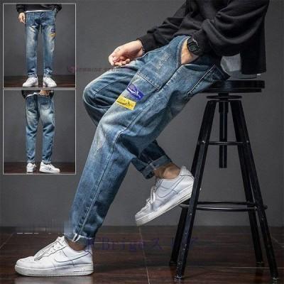 デニムパンツ メンズ デニム ジーンズ ダメージ加工 ストリート系 カジュアル ジーパン Gパン 春秋物 ズボン