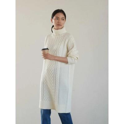 【WEB限定商品】Wool混ケーブルニットワンピース